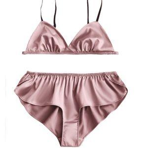 Pink satin bra and panty
